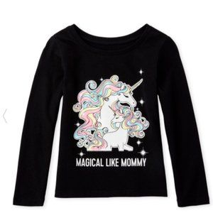 Todder Girls Mommy Unicorn Long Sleeve Top 3T